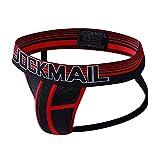JOCKMAIL Jockstrap Men Underwear String Thong Men Underwear Gay Panties Men Briefs Thong (L, Red)