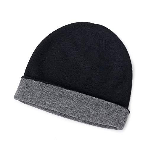 ジョンストンズ リバーシブル ダブルフェイス カシミア ニットキャップ ニット帽 カシミヤ HAE01954 HAE1954 カラー2色 QT546142/MidGrey-Black / [並行輸入品]