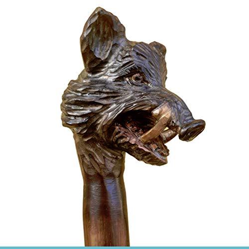 Jagd-Schnitzerei Peter Wanderstock Holz, mit geschnitztem Keilerkopf, Farbe siehe Abbildung, 98-180 cm 15 Zeichen im Preis enthalten.