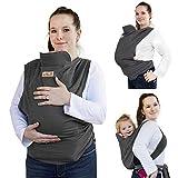 Viedouce Portabebe Ergonómico,Algodón Marsupios Portabebé,Ligero Transpirable Fular Portabebés Adecuado para Recién Nacidos, Bebés de 3-36 Meses (Gris oscuro)