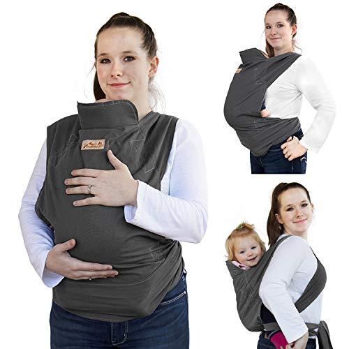 Viedouce Babytrage Ergonomische,Baumwolle Babytragetuch, Leicht atmungsaktiv Babybauchtrage Geeignet für Neugeborene, Kleinkinder von 3-36 Monaten (Dunkelgrau)