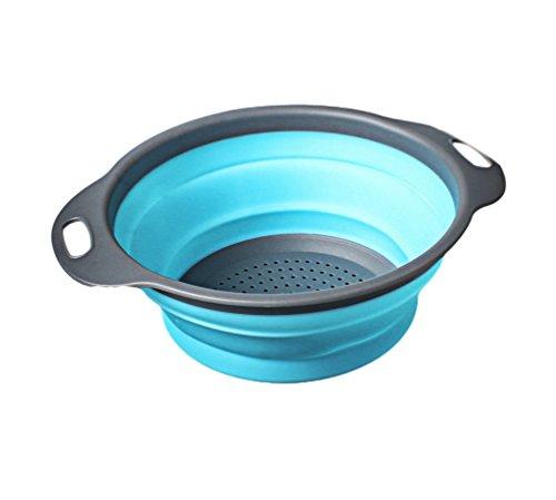 Cayuan Faltbare Abtropfsieb aus Silikon Verwendet als Nudel-Sieb Früchte Gemüse Filterkorb Platzsparend Sieb Colander Blau