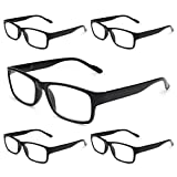 Gaoye 5-Pack Reading Glasses Blue Light Blocking,Spring Hinge Readers for Women Men Anti Glare Filter Lightweight Eyeglasses (5-Pack Light Black, 1.5)