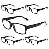 Gaoye 5-Pack Reading Glasses Blue Light Blocking,Spring Hinge Readers for Women Men Anti Glare Filter Lightweight Eyeglasses (5-Pack Light Black, 4.0)