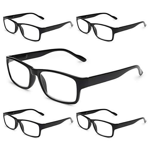 Gaoye 5-Pack Reading Glasses Blue Light Blocking,Spring Hinge Readers for Women Men Anti Glare Filter Lightweight Eyeglasses (5-Pack Light Black, 3.0)