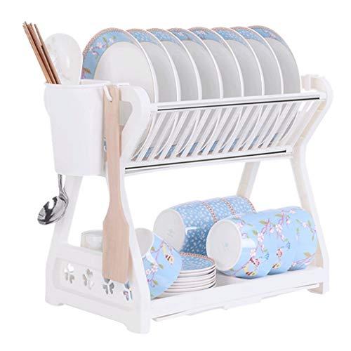 Qiutianchen Double Teller Rack Küchengestelle Ablauf Schüssel Rack Schranktorte Geschirrkasten Lagergestell