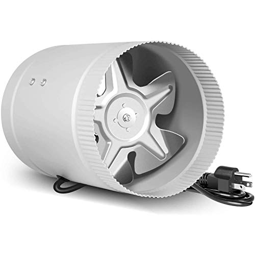 iPower Silent 6 inch 174 CFM Booster Fan Quiet Inline Duct HVAC Exhaust Vent Blower with 4.9' Grounded Power Cord, Low Noise, 1 Pack, Silver