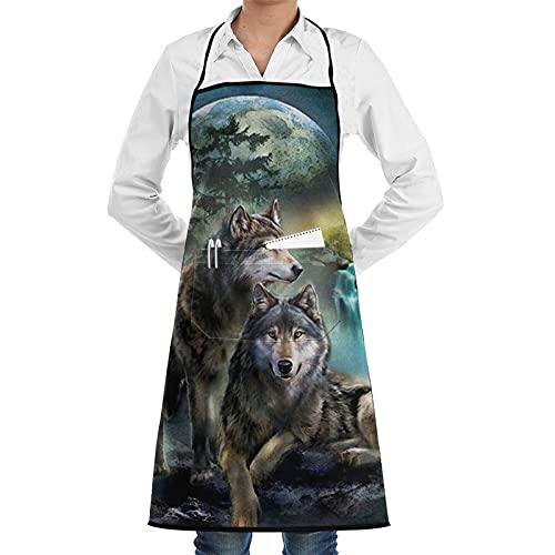 ASNIVI Delantal de cocina,Impermeable y antiincrustante ,La luna y los dos lobos,Delantales para cocina casera, cocina de restaurante, cafetería, barbacoa, uso de jardín