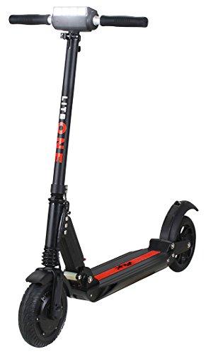 eFlux Lite One Elektroroller Scooter - 500 Watt Motor - Bis 30 km/h - 30 Km Reichweite - Nur 10,8 Kg leicht - Klappbar - E-Scooter (Lite One Schwarz Rot)