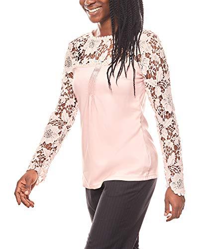 Patrizia DINI edle Bluse Damen Spitzenbluse Shirt Rosa, Größenauswahl:42