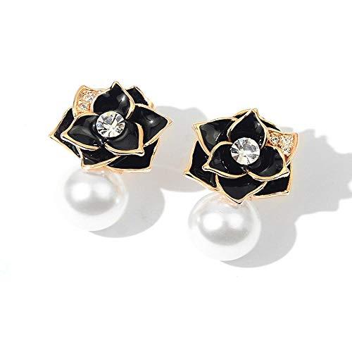 YANGYUAN Pendientes de flor negra con incrustaciones de diamantes de imitación de perlas de imitación y diamantes de imitación, regalo de joyería