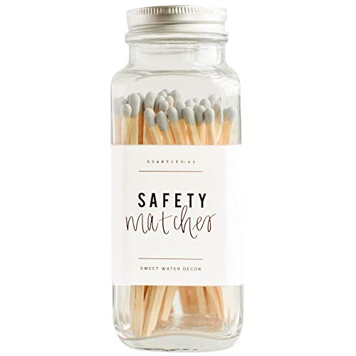Sweet Water Decor Grey Safety Matches - Glass Jar | 60 Strike On Bottle Matches Vintage Matches Home Decor Candle Accessory Grey Tip