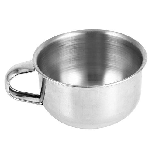 Tasse de rasage pour savon, tasse raser pour créme raser et savon en acier inoxydable tasse raser rasoir rasoir outil de mousse nettoyante 2pcs