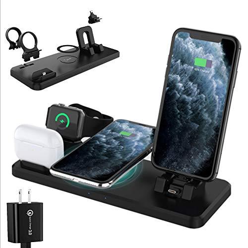 MZBZYU Cargador Inalámbrico Rápido, Negro Cargador Doméstico 6 en 1 para iPhone 11/11 Pro MAX/XS/XR/8 Plus, Soporte de Carga Inalámbrico para iWatch AirPods Pro, Incluye QC3.0 Adaptador