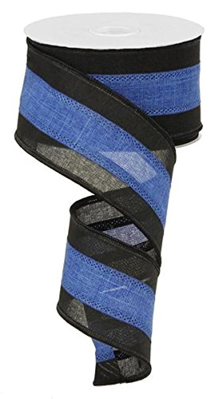 Black & Blue Royal Burlap Wired Edge Ribbon (2.5