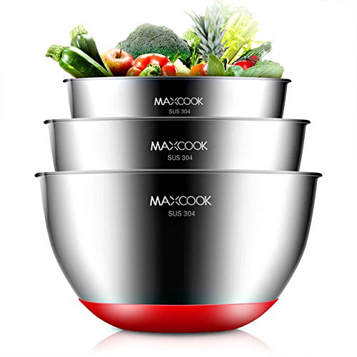MAXCOOK Stainless Steel Salad Mixing Bowl Set, 3-Piece with Non-Slip Bottom, Nesting Metal Bowl Set for Cooking, Baking, Serving, Storage, Prepping, Mixing,1.1/2.2/2.7Quart(1L/2L/2.5L)