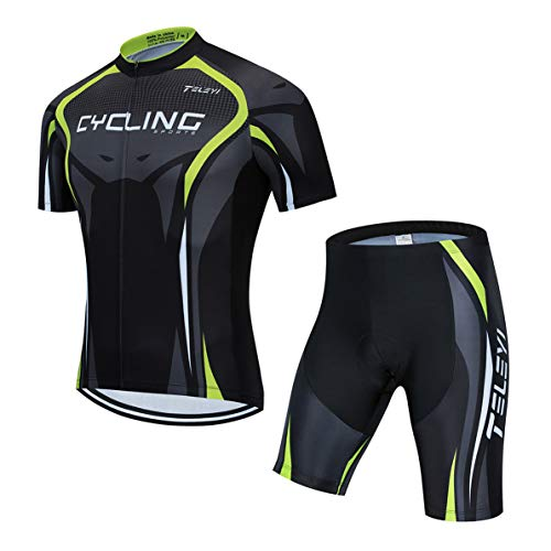 Cycling Jersey Sets Men Bike Top Mountain Bicycle Jersey Shorts Suit Cycle Shirt Road MTB Bicycle Outdoor Sports Clothing Summer Green Black M