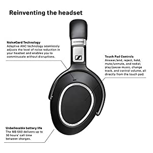 Sennheiser MB 660 MS (507093) - Dual-Sided, Dual-Connectivity, Wireless, Bluetooth, Adaptive ANC Over-Ear Headset   For Desk/Cell Phone & Softphone/PC Connection   Skype for Business Certified (Black)