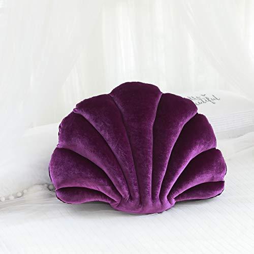 Anyinghh 34-65cm Almohada rellena de Concha de Lujo Linda Creativa Almohada de Terciopelo fantástico Sea Shell Decoración para el hogar Cama Sofá Cojín Decoración Regalo 34X25cm Darkpurple