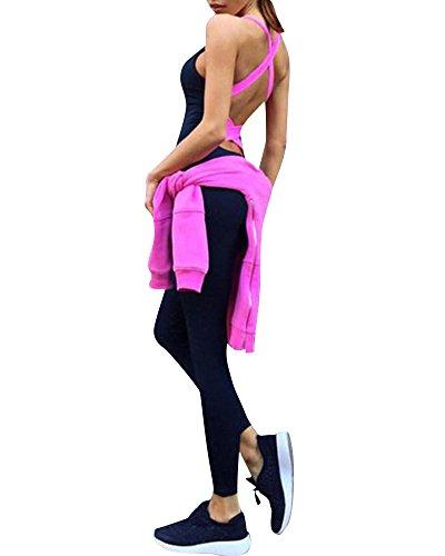 ZongSen Donne Maniche della Maglia Pantaloni di Yoga di Sport Tuta Pagliaccetto Rose