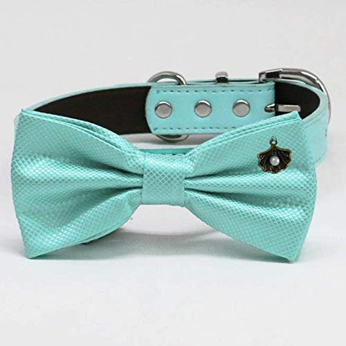 Safety and trust Aqua Luxury bow tie Leather collar to XXL adjusta XS