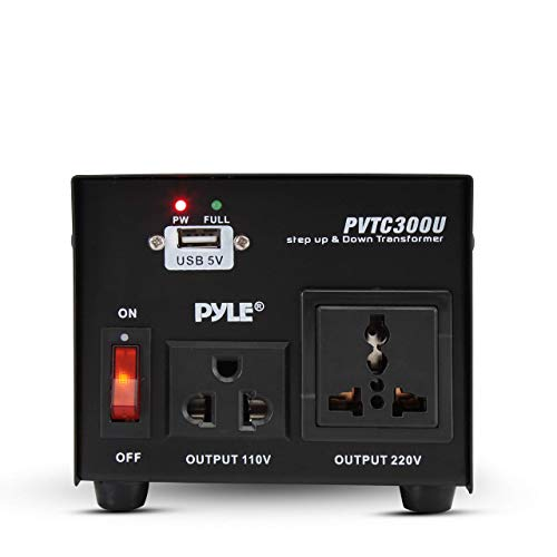 Pyle Voltage Converter Step Up and Down AC 110/220 Volts Transformer USB Charging Port, 300 Watt