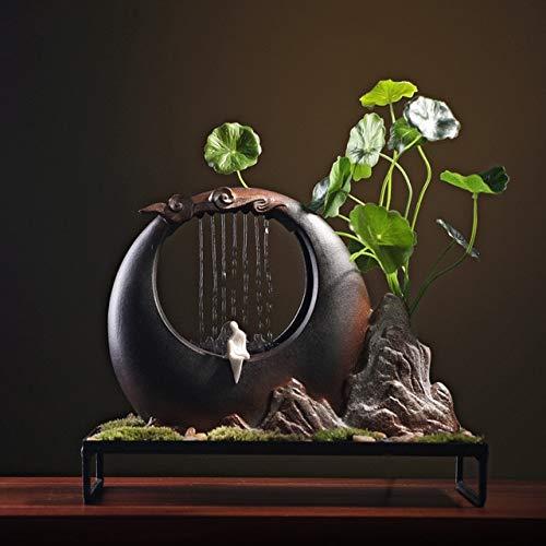 GETSO 110V-220V-chinesische Art Zen-Wasser-Brunnen Keramik Feng Shui Water Flow Trübungen Regen Vorhang Landschaft Dekor Crafts Bonsai: A