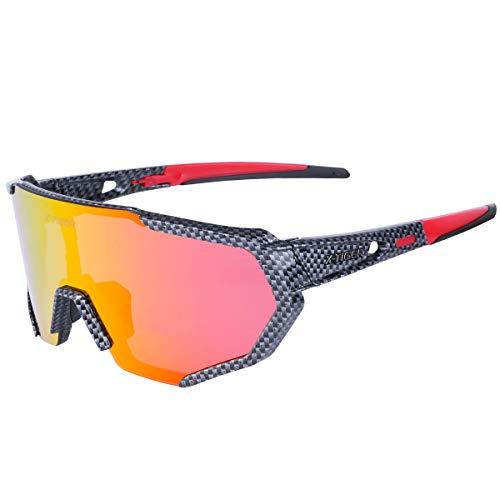 Óculos de sol esportivos polarizados X-TIGER com 3 lentes intercambiáveis, óculos de sol masculinos femininos para ciclismo, beisebol, corrida, pesca, golfe, dirigir, Latticered