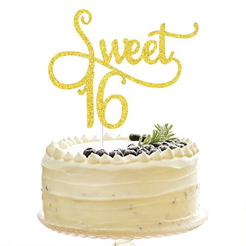 Tenhaisi Glittery Gold Sweet 16 Cake Topper, Happy 16 Birthday Party Supplies, Sweet 16 Wedding Anniversary Party Decorations, Cake Topper for 16