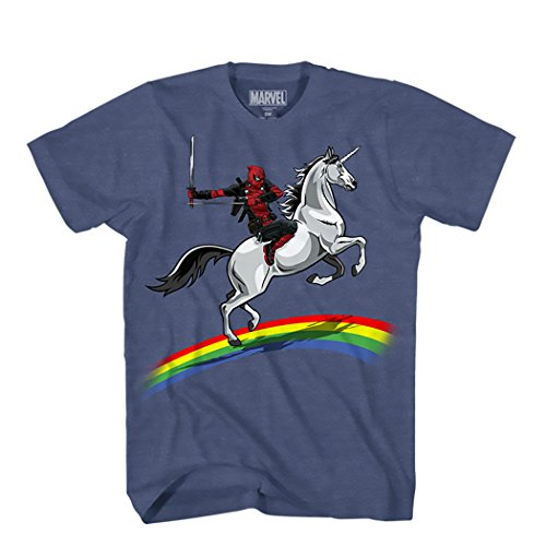 Marvel unisex adult Deadpool Riding a Unicorn on Rainbow T-shirt T Shirt, Denim Heather, Small US Michigan