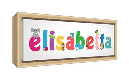 Little Helper LHV-ELISABETTA-2159-FCNAT-15IT Impression sur toile encadrée en bois naturel, motif personnalisable avec le nom de fille Elizabetta, multicolore, 25 x 63 x 3 cm