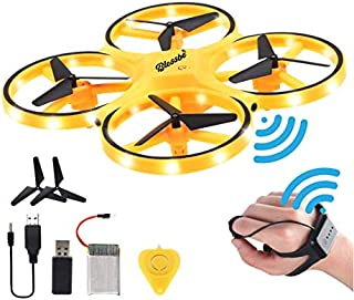 BLESSBE Hand Gesture Operated Mini Drone with Smart Watch Hand Control Quadcopter Remote Control RC Flying Helicopter LED ...