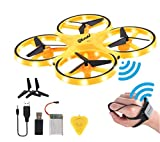 BLESSBE Hand Gesture Operated Mini Drone with Smart Watch Hand Control Quadcopter Remote Control RC Flying Helicopter LED Infrared Induction UAV Aircraft Toy- F65