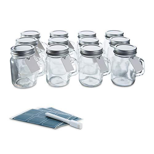 Glass Favor Jars with Lids and Handles 3.4oz - Mini Mason Jar Favors Bottles- [12pc B