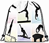 DHNKW Drawstring Backpack String Bag 14x16 Balance Several Gymnastic Moves Pastel Colored People Silhouette Sports Recreation in Beam Horse Female Girl Sport Gym Sackpack Hiking Yoga Travel Beach