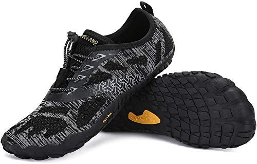 SAGUARO Zapatillas Minimalistas Hombre Zapatillas de Barefoot Mujer Zapatillas de Trail Running Antideslizante Escarpines de Agua Stil: B Negro Gr.45