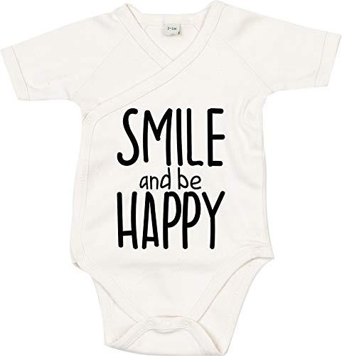 Kleckerliese Body à manches courtes pour bébé Motif smile et be Bonnet - Beige - 6-12 mois