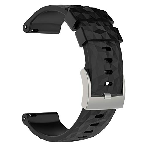 Pulseira de pulseira de silicone para relógio de substituição Pwkutn para relógio inteligente Suunto 9 e Spartan Sport Wrist HR Baro, Suunto9 & Baro, Preto