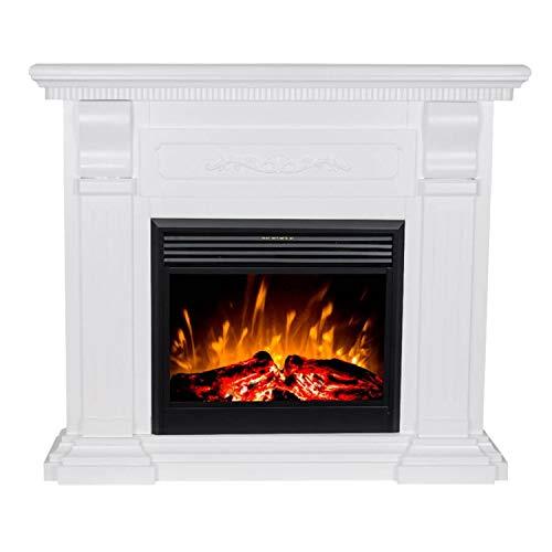 GLOW FIRE Elektrokamin mit Heizung, Wandkamin und Standkamin mit LED | Künstliches Feuer mit zuschaltbarem Heizlüfter: 750/1500 W | Fernbedienung, Dimmer, Kaminsims, Weiß | Klassisch verziert