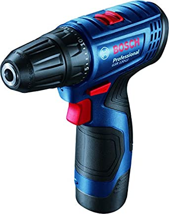 Bosch GSR120-Li Cordless Drill Driver, Wood & Steel, 2-speed gearbox, 1 x GBA 12V 2.0Ah Battery, GAL 1210 CV Professional Charger + Carrying Case