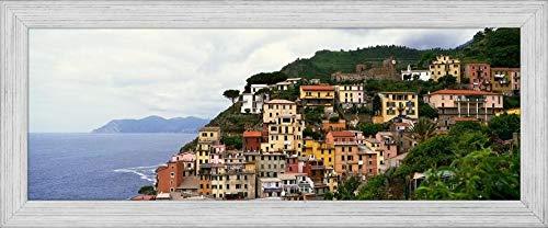 "Easy Art Prints Panoramic Images's 'Cliffside Buildings of Cinque Terre Region, Manarola, Italy.' Premium Framed Canvas Art - 30"" x 10""- Brazilian Barnwood Frame"
