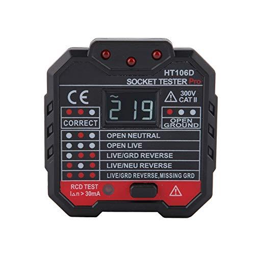 Steckdosenprüfgerät, HT106B Multifunktions-Steckdosenprüfgerät mit Spannungsanzeige und Steckersuchgerät(EU Plug)