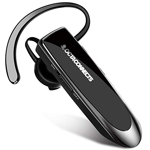 Bluetooth Earpiece Octa Connects Wireless Headset with Mic 24Hrs Talktime Hands-Free in-Ear Headphone Compatible with iPhone Samsung Android Smart Phones, Driver Trucker Black