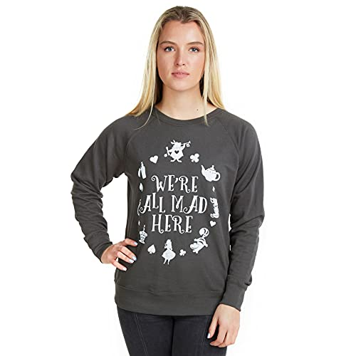 Disney Mad Here, Sweat-shirt taille normale Col ras du cou Sans manche Femme, Gris (Light Graphite LGR), Small (Taille fabricant: Small)