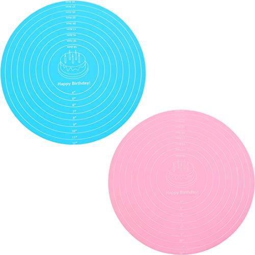 Esterilla de silicona para hornear Baking Mat, base antideslizante para hornear con medición de fondant masa, reutilizable para fondant, macarón, pizza, masa, 2 unidades (diámetro: 12 in)
