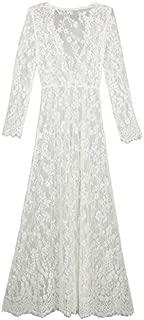 BEESCLOVER Long Dress Cover Ups Women Dress Solid Lace Beach Pareo Swimsuit Plus Size Beach Wear Summer Dress