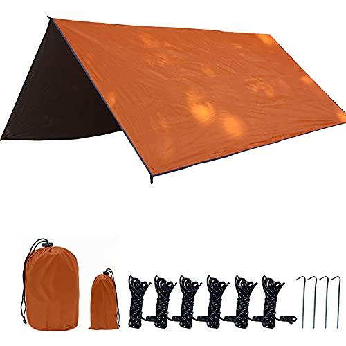 KUYH Tarpa De Campamento Ligero, Toldo Al Aire Libre, Tela De Oxford Plateada En 210T, Adecuada para Camping Y Viaje Al Aire Libre (Tamaño: 3 * 3M),Naranja