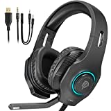 Auriculares Gaming Luces RGB, EasySMX [Regalos Originales] Cascos Gaming con Cancelación de Ruido para PS4 & Xbox One S/X Controller, PC, Laptop, Nintendo Switch, Tablet y Móvil, Auriculares ps4
