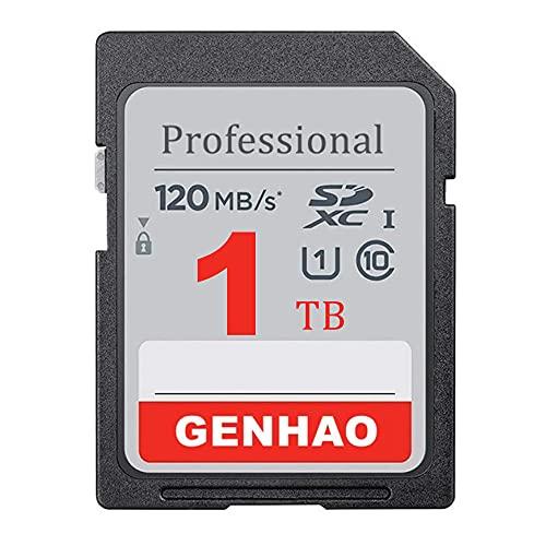 GENHAO Tarjeta SDXC profesional de 1 TB UHS-I - 120 MB/s, C10, U1, Full HD, 1000 GB de memoria SD (1024 GB-120 MB)