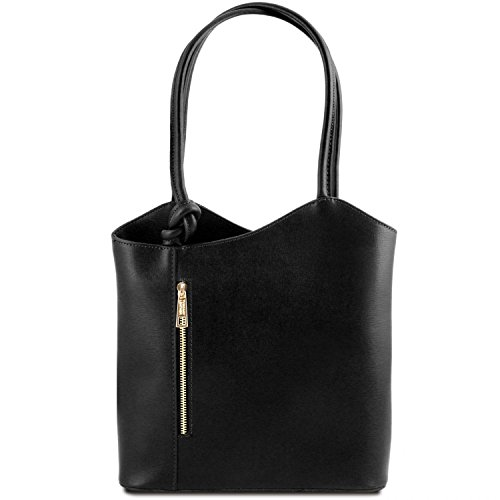Tuscany Leather Patty - Borsa donna convertibile a zaino in pelle Saffiano - TL141455 (Nero)
